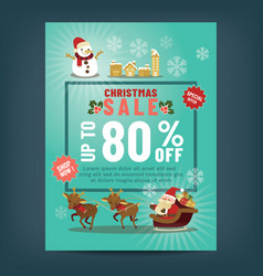 christmas sale poster with cute santa claus vector image
