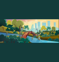 city garden flat cartoon background panorama vector image
