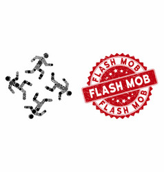 Collage running men with scratched flash mob stamp vector