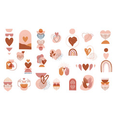 collection boho valentines day symbols vector image