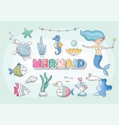 cute mermaid sea characters and plants set vector image