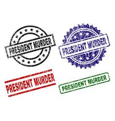 damaged textured president murder stamp seals vector image