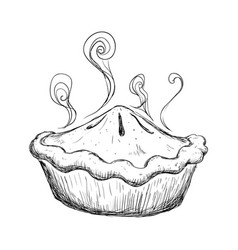 Delicious sweet pie drawing vector