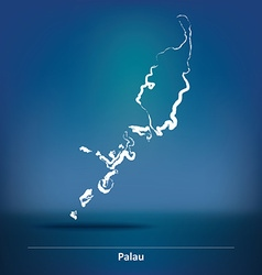 Doodle Map of Palau vector