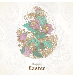 Easter background with delicate egg from flowers vector image