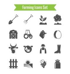 Farming Harvesting and Agriculture Icons Set vector