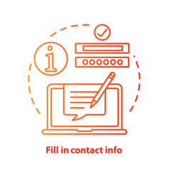 Fill in contact info red concept icon contact us vector
