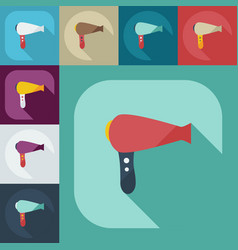 Flat modern design with shadow icons hairdryer vector