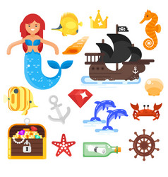 flat style set of sea life icons vector image