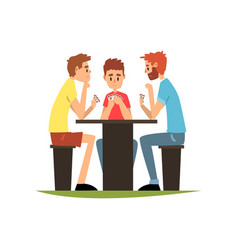 Friends playing cards sitting at the table men vector