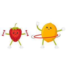 funny lemon and strawberry training doing sport vector image