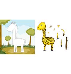giraffe puzzle vector image