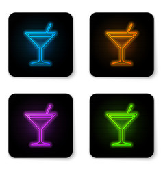 glowing neon martini glass icon isolated on white vector image