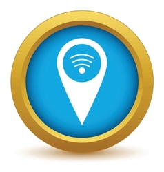 Gold wi-fi pointer icon vector