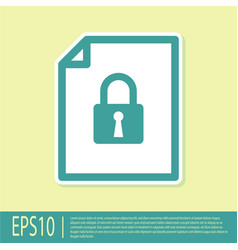 Green document and lock icon isolated on yellow vector