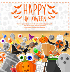 Halloween banner with flat stickers background vector