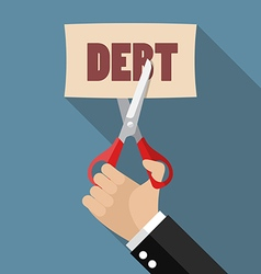 Hand cutting debt paper vector image