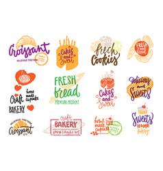 hand drawn bakery logotypes set vector image