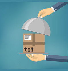 hand holding package on the cloche vector image vector image