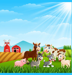Happy animals at farm background vector