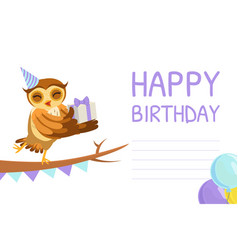 happy birthday banner template cute owl bird vector image