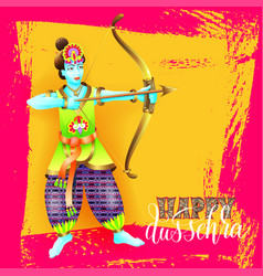happy dussehra greeting card design with the god vector image