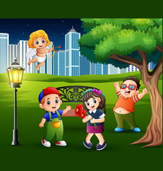 Happy valentines day with children in the city par vector