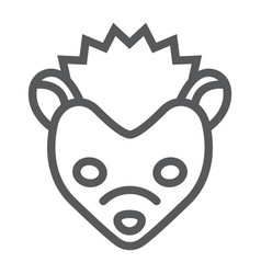hedgehog line icon animal and zoo pet sign vector image