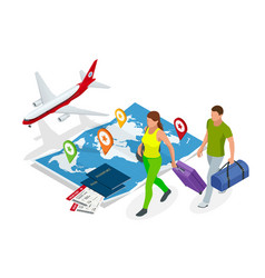isometric business travel and tourism concept air vector image