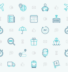 Logistics seamless pattern with thin line icons vector