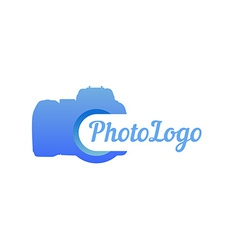 Logo of photo camera in blue color vector image