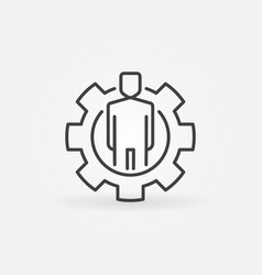 Man in gear outline icon vector