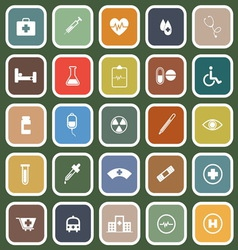 Medical flat icons on green background vector image