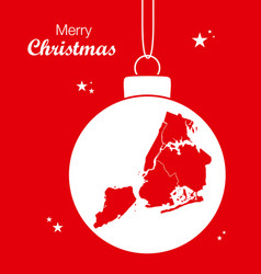 merry christmas theme with map of new york vector image