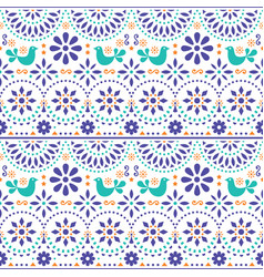 mexican folk art seamless pattern with bird vector image