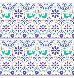 Mexican folk art seamless pattern with bird vector