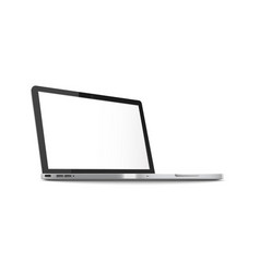 mockup side view open laptop with blank screen vector image