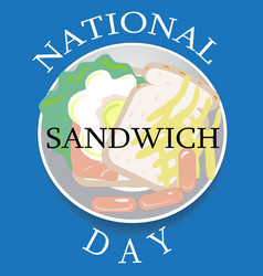 national sandwich day sign and logo vector image