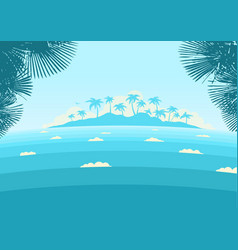 ocean waves and tropical island with palms vector image