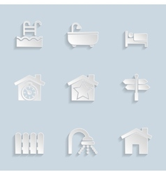 Paper Real Estate Icons vector