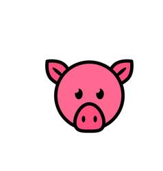 pig head flat icon sign symbol vector image
