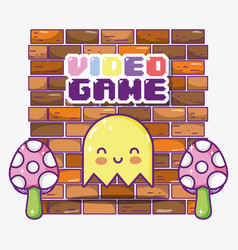retro videogame ghost cartoon vector image