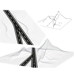 road highway in 3d view from above and in vector image