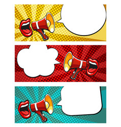 sale banners with open mouth and megaphone in pop vector image