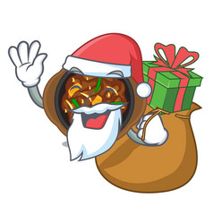 Santa with gift bulgogi isolated with in the vector