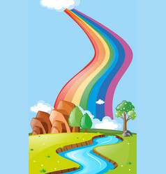 Scene with rainbow over the river vector