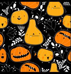 Seamless pattern with cartoon pumpkins on black vector