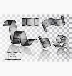 Set curved photographic film film vector