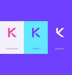 Set letter k minimal logo icon design template vector