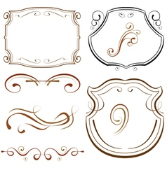 set of elements for design decorative borders and vector image